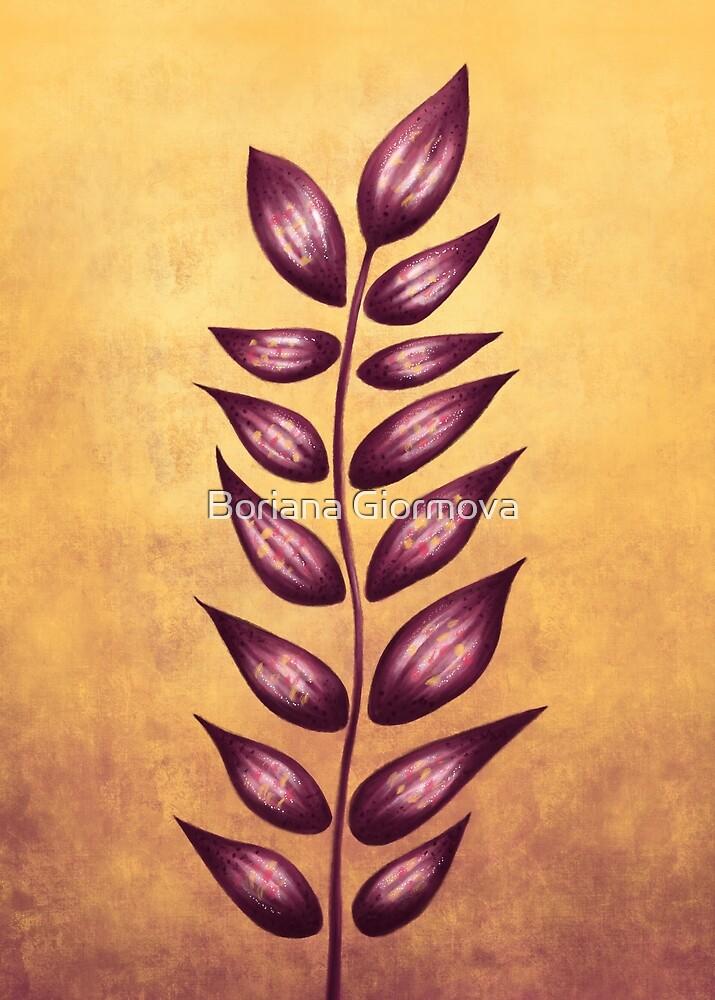 Purple Abstract Plant by Boriana Giormova
