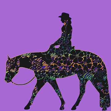 BIG - Floral Western Horse Female Rider On Lavender by Stuffnthingz