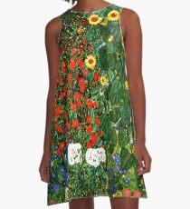 Klimt - Bauerngarten mit Sonnenblumen A-Linien Kleid