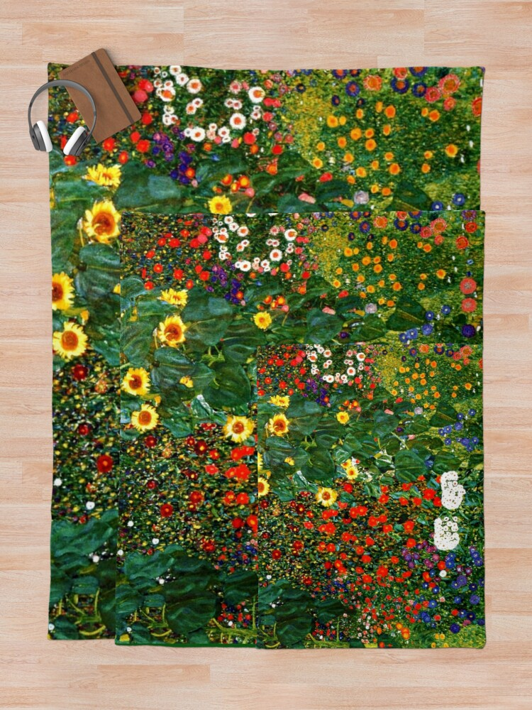 Alternate view of Klimt - Farm Garden with Sunflowers Throw Blanket