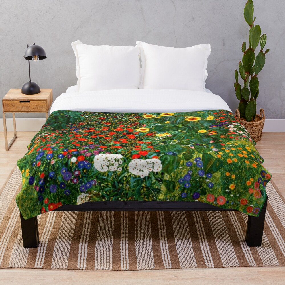 Klimt - Farm Garden with Sunflowers Throw Blanket