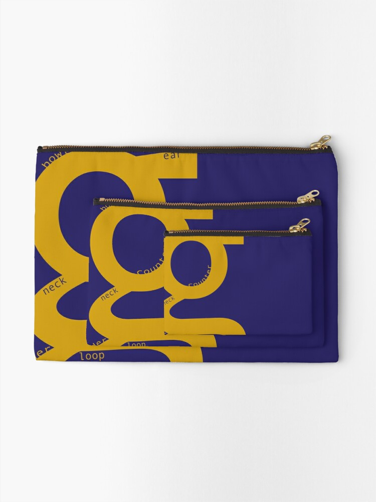 Alternate view of the typography of G Zipper Pouch