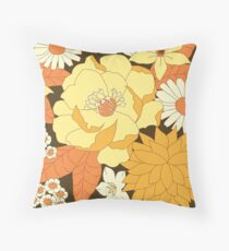 Yellow, Orange and Brown Vintage Floral Pattern Throw Pillow