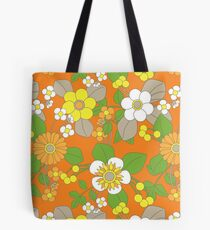 Yellow, Orange and White Retro Flowers on Orange Background Tote Bag