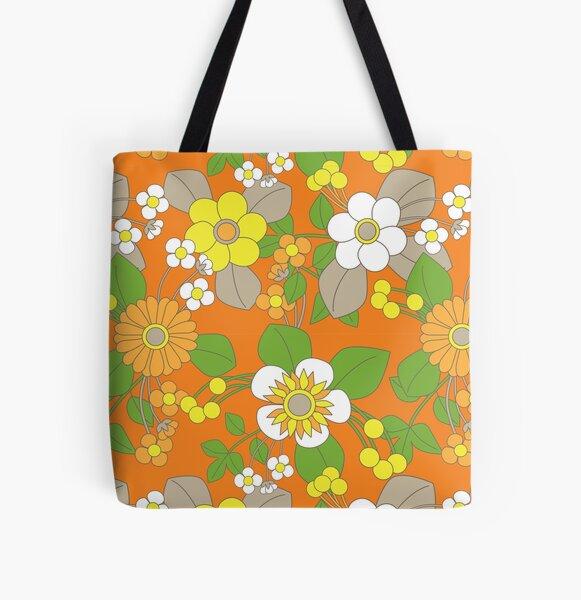 Yellow, Orange and White Retro Flowers on Orange Background All Over Print Tote Bag