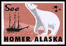 Homer Alaska Vintage Travel Bear Luggage by MyHandmadeSigns