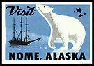 Nome Alaska Vintage Travel Bear Luggage Gold Mining Bering Sea by MyHandmadeSigns