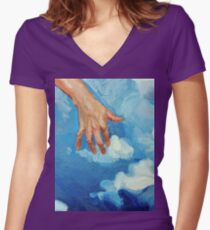Touching Clouds Women's Fitted V-Neck T-Shirt