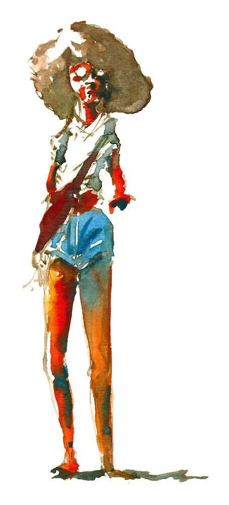 Hippie woman in shorts by HikingArtistCom