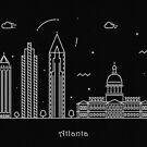 Atlanta Skyline Minimal Line Art Poster by A Deniz Akerman