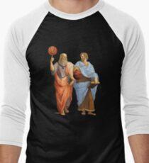 Plato and Aristotle in Epic Basketball Match Men's Baseball ¾ T-Shirt