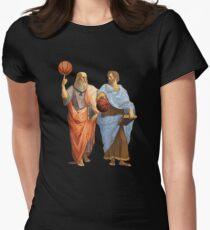 Plato and Aristotle in epic Basketball Match Tailliertes T-Shirt für Frauen