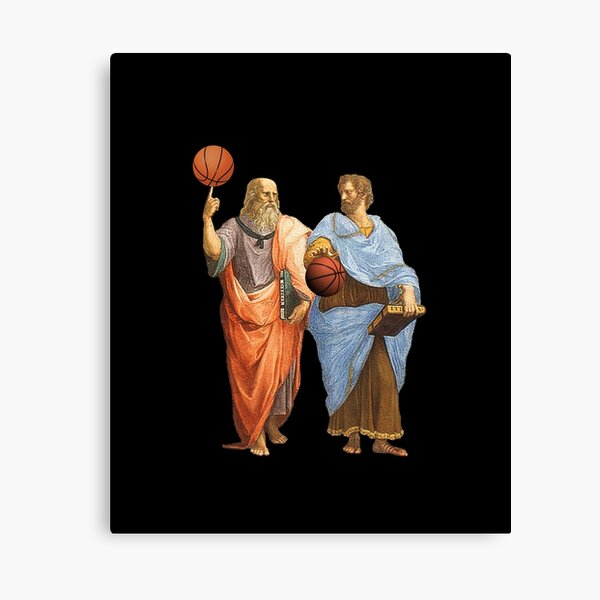 Plato and Aristotle in Epic Basketball Match Canvas Print