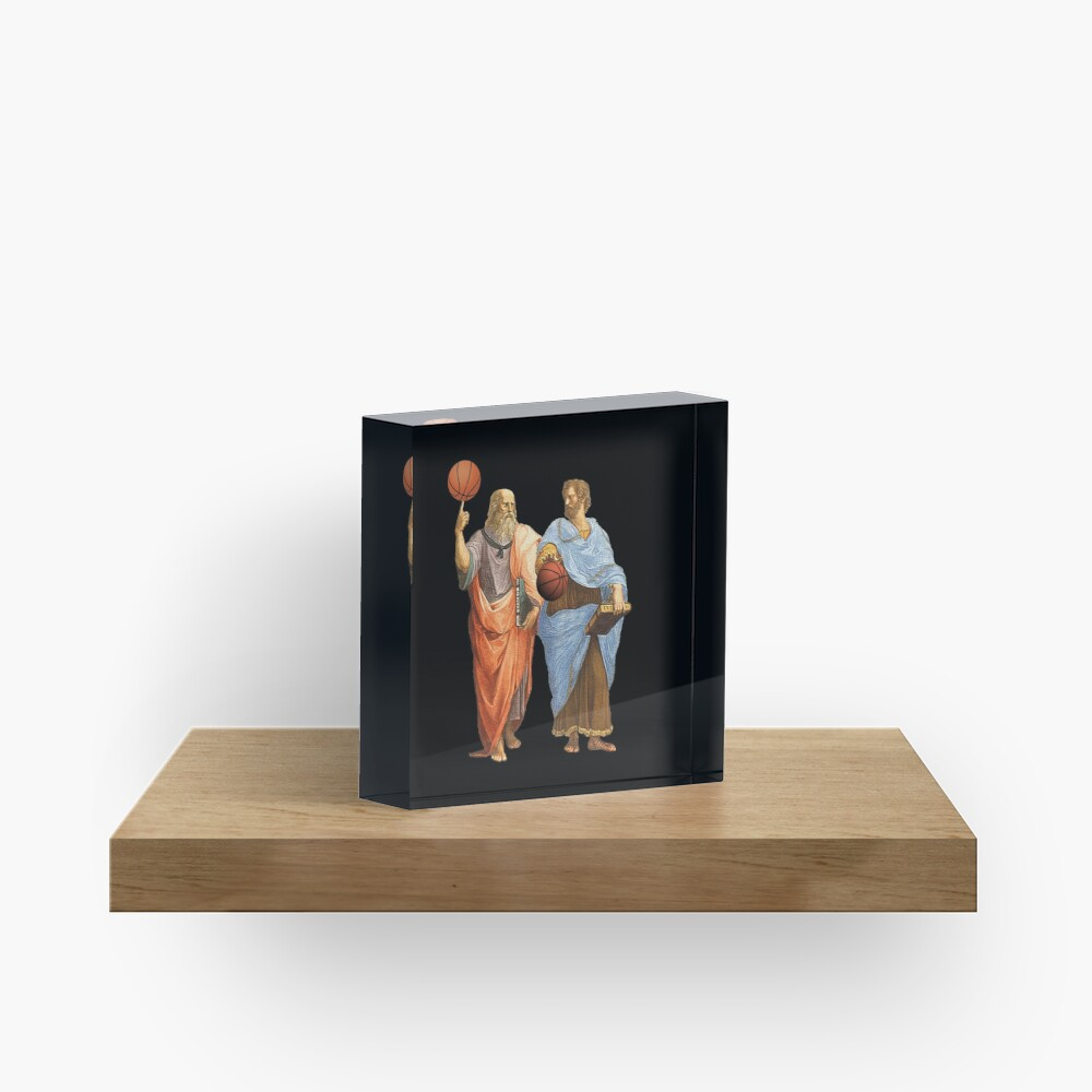 Plato and Aristotle in Epic Basketball Match Acrylic Block