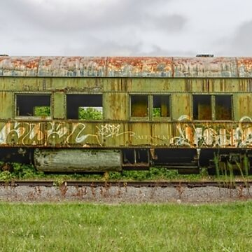 """The Last Stop"" an abandoned old green train on the tracks by LESLIEDYESIGN"