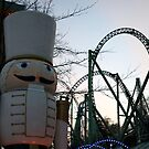 A toy soldier guards a roller coaster. by 71featherst