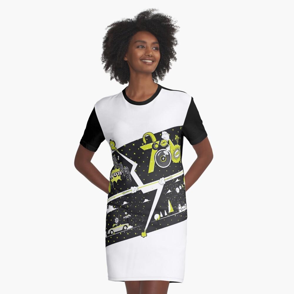 Tobu Yellow Comic Art Graphic T-Shirt Dress