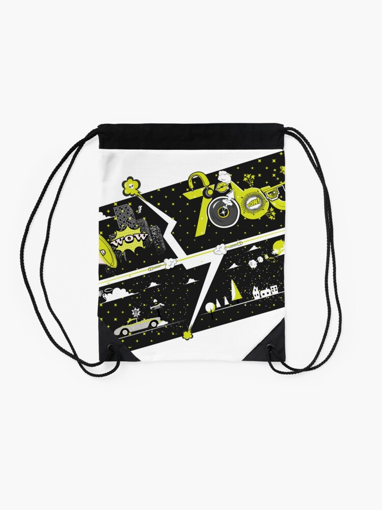 Alternate view of Tobu Yellow Comic Art Drawstring Bag