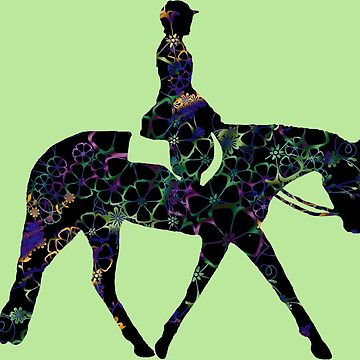 BIG - Floral Hunter Horse In Green by Stuffnthingz