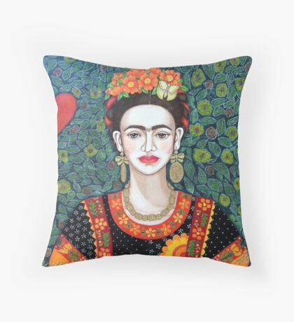 Frida, Queen of Hearts closer II Throw Pillow