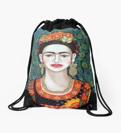 Frida, Queen of Hearts closer II Drawstring Bag