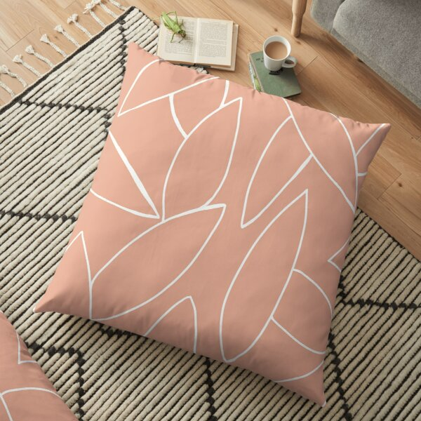 dusty peach leaves Floor Pillow