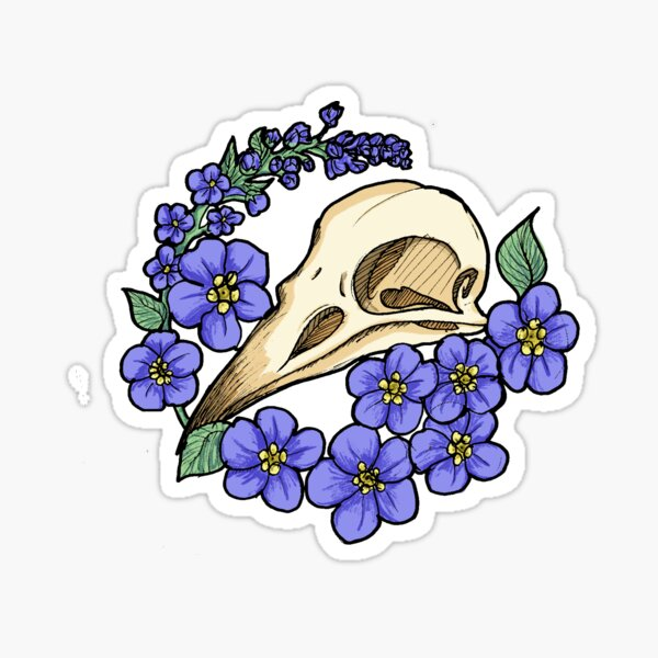 Crow Skull and forget-me-nots Sticker
