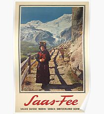 Saas Fee, Wallis, Ski Poster Poster