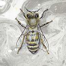 Honey Bee Apis mellifera on suminagashi by Liz Mattison
