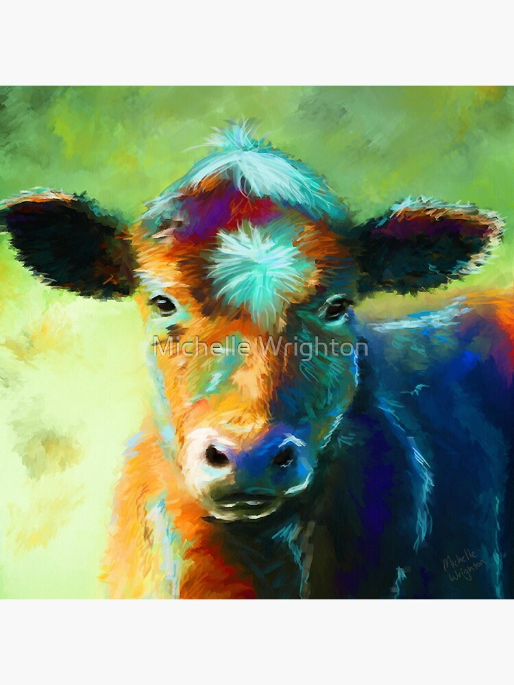 Cow Decorations Cow Wall Art, Painted Cow Art Farm Animal Artwork Funky Cow Painting Large Abstract Cow Contemporary Cow Painting