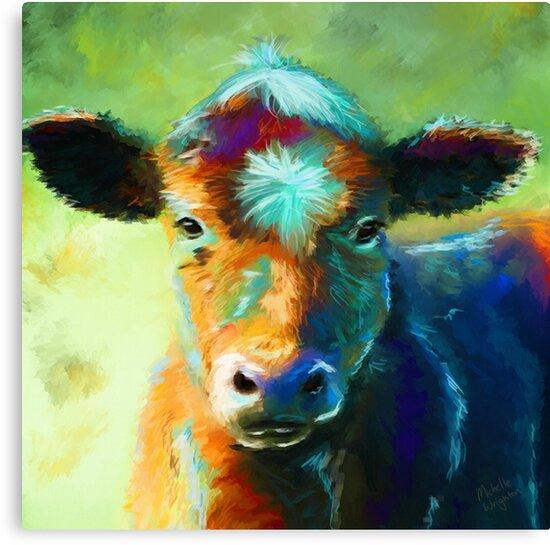 Quot Colourful Calf Painting Quot Canvas Prints By Michelle