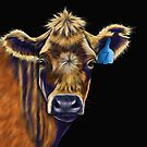 Lucky Number Seven Cow Painting by Michelle Wrighton