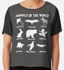 Einfache Vintage Humor Lustige seltene Tiere der Welt Chiffontop