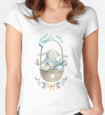 Cute Baby Bunny In a Basket Women's Fitted Scoop T-Shirt