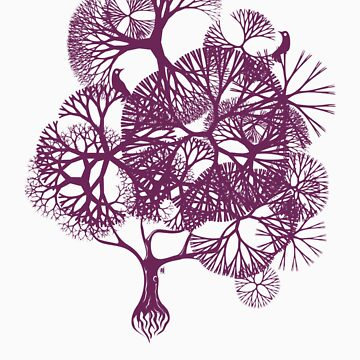 BIRDS & TREE - GIRLS TEE - PURPLE PRINT by allenyeung