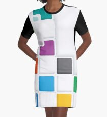 Colorful Squares Abstract Art Graphic T-Shirt Dress