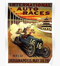INTERNATIONAL: Vintage 1914 Auto Racing Werbung Print Poster