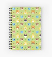 Animal Crossing Pattern - Green Spiral Notebook
