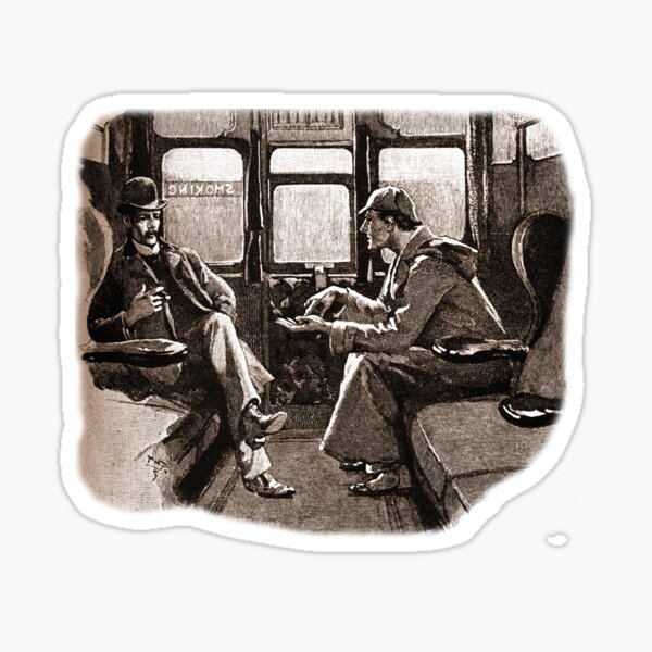 Sherlock Holmes and Watson on a train by Sidney Paget Sticker