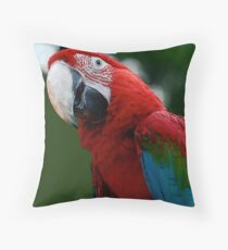 Close-Up Of A Green-Winged Macaw Throw Pillow