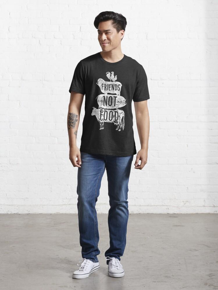 Alternate view of Friends Not Food - Vegan Vegetarian Animal Lovers T-Shirt - Vintage Distressed Essential T-Shirt