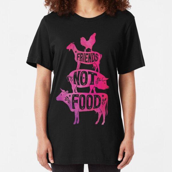 Friends Not Food - Vegan Vegetarian Animal Lovers T-Shirt - Vintage Distressed Slim Fit T-Shirt