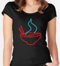 Spicy Ramen Noodles Neon Women's Fitted Scoop T-Shirt