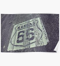 Historic Route 66 marker in Kansas on asphalt. Poster