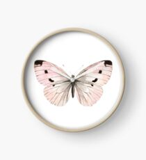 Butterfly flutter - soft peach Clock