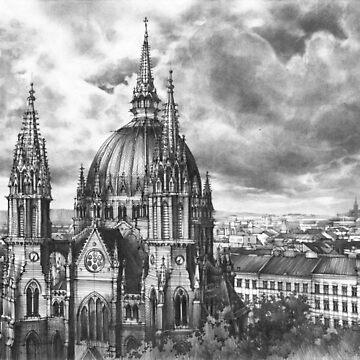 City of Vienna - pencil illustration by kkmiecikart
