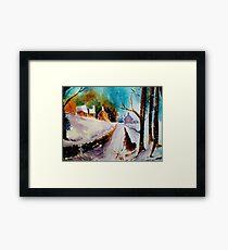 Snowy Christmas eve Framed Print