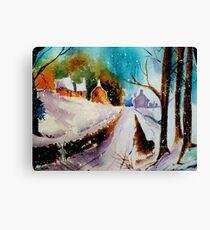Snowy Christmas eve Canvas Print
