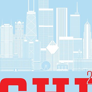"""Chicago Squared"" Skyline Chicago Flag Colors by MetzgerAndSons"