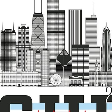 """Chicago Squared"" Skyline with Chicago Flag by MetzgerAndSons"